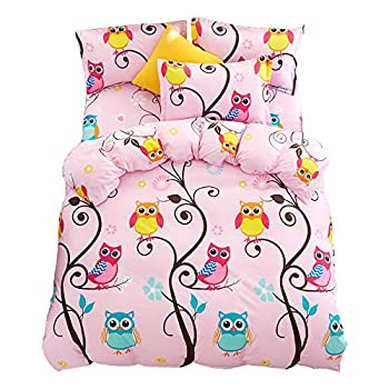 JQWUPUP Cartoon Kids  Duvet Cover Set Queen 3Pcs  1 Duvet Cover and 2 Pillow Shams No Comforter Insert  Gift for Teens Girls Durable Hypoallergenic Microfiber  Queen Pink Owl