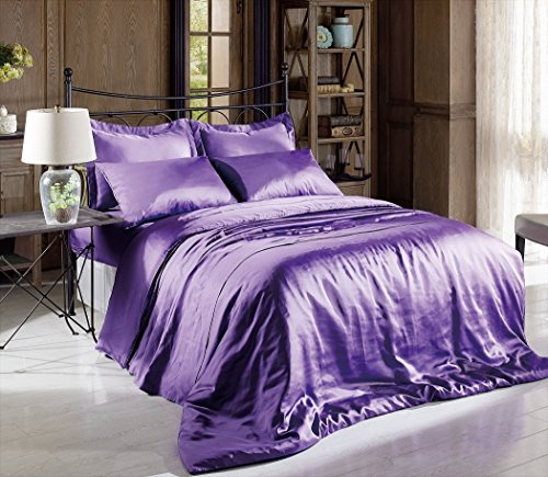 Hight Thread Count Solid Color Soft Silky Charmeuse Satin Luxury and Super Soft Bed Sheet Set (Purple, King)