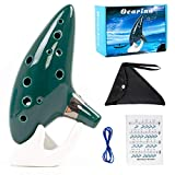Ocarina 12 Tones Alto C with Song Book Display Stand Neck Cord (Dark Green)