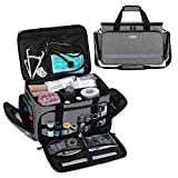 CURMIO Nurse Bag, Medical Bag Clinical Bag with Inner Dividers and No-Slip Bottom for Home Visits, Health Care, Hospice, Gift for Nursing Students, Physical Therapists, Doctors,Gray