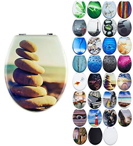 Grafner MDF WC Sitz mit Absenkautomatik viele schöne Motive zur Auswahl - stabile Qualität - einfache Montage WC Deckel Klobrille Softclose (Six Stones)