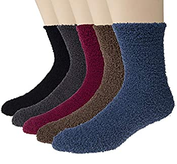 5 Pairs Mens Winter Soft Cozy Warm Fuzzy Socks - Solid color and Stripe Color Bronze