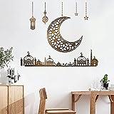DDAYUP Ramadan Decorations for Home Stickers, Islamic Muslim Wall Stickers,Eid Mubarak Ramadan Decor Moon Lantern Stickers Decals, Window Clings for Ramadan Decorations Living Room Bedroom Wallpaper