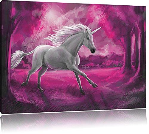 Pixxprint Einhorn im Wald als Leinwandbild   Größe: 100x70 cm   Wandbild   Kunstdruck   fertig bespannt