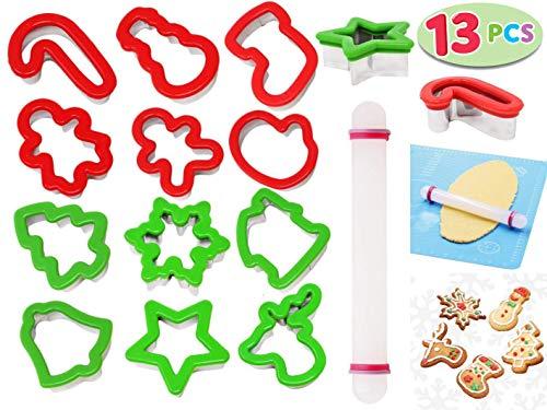JOYIN 13 piezas Juego de cortador de galletas de Navidad Moldes para Galletas Infantiles Estrellas, copo de nieve, árbol de Navidad, Santa Cara, Reno