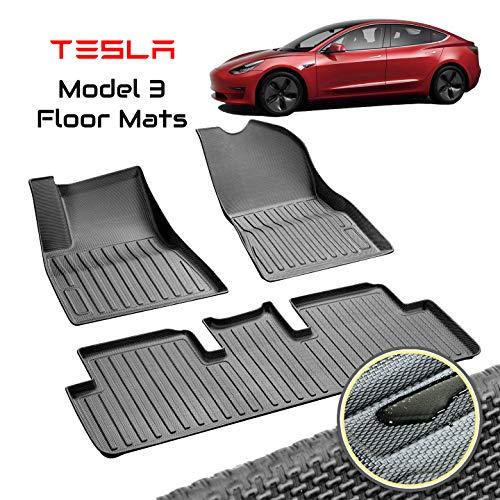 Homeland Hardware (Sale) Tesla Model 3 Floor Mats Liners Complete Set in Black for Models All-Weather 4D Multi-Layer Custom Laser Cut 4D Max Chain Rolled Carbon Series Non Slip (US Based Seller)