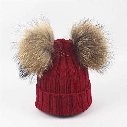 SYWJ Sombrero de Abrigo Moda Niños Sombrero de Mujer Bebé Niño pequeño Calentador de Invierno de Punto Gorro de Bola de Lana prensado Gorros de bebé Suave (Color: Rojo Vino)