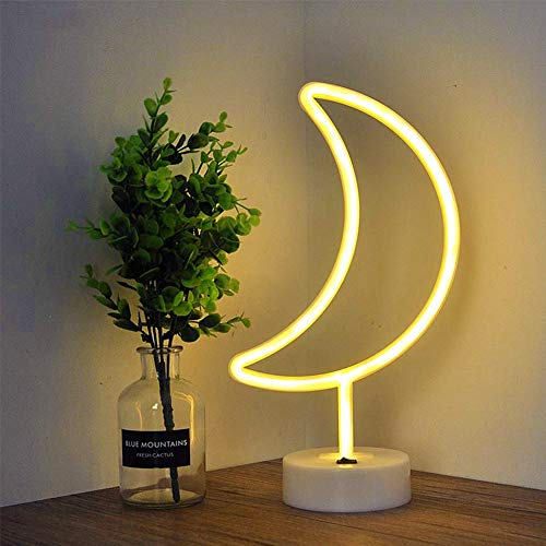 Fiee Moon Shaped Neon Signs,Led Safety Art Wall Decoration Lights Neon Lights -