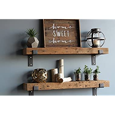 Urban Legacy Barn Wood Shelves Chunky Rustic Industrial - Amish Handcrafted in Lancaster County, PA - Set of Two | 40 Inches, (Genuine Salvaged/Reclaimed with Raw Metal Brackets) (Natural Wood)