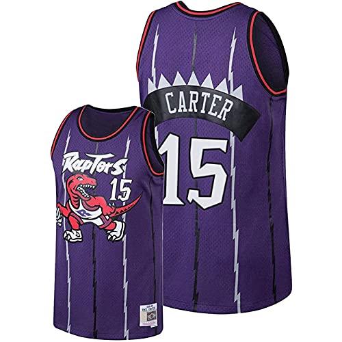 GFDDZ Jersey de Chaleco Sin Mangas de Baloncesto, Camiseta NBA Toronto Raptors # 15 Swingman Jersey Sudadera con Bordado de Dinosaurio