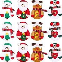 Misura giusta per le posate: ogni argenteria natalizia è di circa 13.3 x 10 cm/ 5.24 x 4 pollici, adatta per tenere forchette e coltelli Stile di Natale: portaposate progettato in tema natalizio, utilizzare i suoi elementi principali come Babbo Natal...