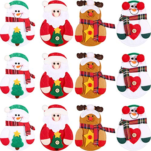 Sumind 12 Piezas de Funda de Cubiertos de Navidad Bolsa de Vajillas de Plata Bolsa de Cuchillos Tenedores para Decoración de Fiesta de Navidad, 4 Estilos