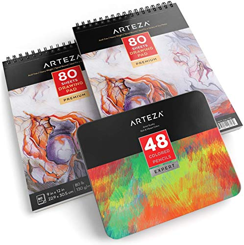 ARTEZA Drawing Bundle, Professional Colored Pencils Set of 48 and 9'x12' Drawing Pad Pack of 2