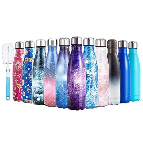 Botella de agua 17 oz 500 ml de doble pared de acero inoxidable aislado viajes azul estrellado reutilizable