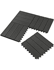 WPC houten tegels terrastegels kliksysteem 30 x 30 cm voor terras en balkon vloertegels kliktegels vloerbedekking in houtlook