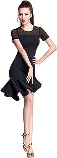 ZX Women's Latin Dancewear Mesh Neck Short Sleeve Swallowtail Rumba Salsa Dance Dress