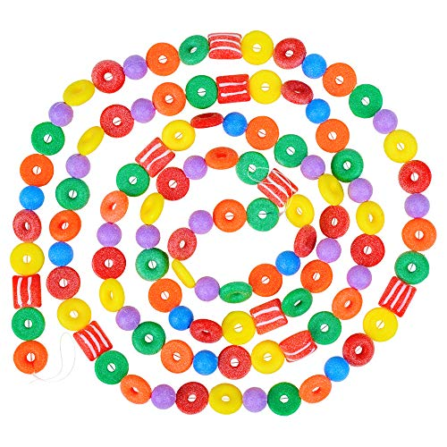 9 Foot Plastic Candy Life Saver Gumdrop Ball Christmas Garland | Glittered Christmas Tree Garland Perfect For Retro Candy Land Theme Trees | Garland Christmas Decorations For Indoor Use