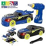 GILOBABY Montage Spielzeug Autos , Kinder DIY Gebäude Spielzeug,Elektrisches Rennwagen Set mit...