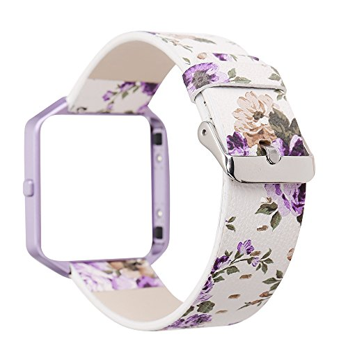 YOSWAN Replacement Band for Fitbit Blaze, Watchband Floral Soft Leather Strap Replacement Watch Band Wristband Bracelet Strap and Frame for Fitbit Blaze (White Purple+ Purple Frame)