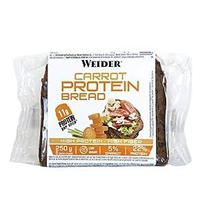 Weider Pan Proteico con 11g de proteína y un 5% de zanahoria por rebanada. Con mucha fibra y bajo en azúcares. (5x250 g)