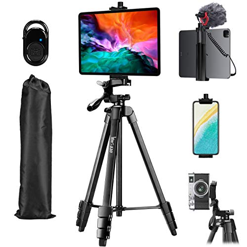 Tripod, Lusweimi 60-Inch Camera Tripod for iPad & iPhone Compatible with Tablet/iPad Pro 12.9 inch/Webcam/Video Camera, iPad Pro Tripod Stand with Bluetooth Remote & Bag for Vlog/Video/Photography