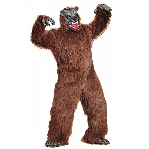 NET TOYS Brauner Bär Kostüm Bärenkostüm Bären Plüschkostüm Braunbär Verkleidung Monster Ganzkörperkostüm Plüsch Tierkostüm