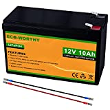 ECO-WORTHY 12V 10Ah LiFePO4 Lithium Iron Phosphate Deep Cycle Rechargeable Battery with Built-in BMS, Perfect for Trolling Motor, Kids Scooters, Fishfinder, Ham Radio, Power Wheels, Lawn Mower etc