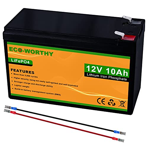 ECO-WORTHY 12V 10Ah LiFePO4 Lithium Iron Phosphate Deep Cycle Rechargeable Battery with Built-in BMS, Perfect for Trolling Motor, Kids Scooters, Fishfinder, Ham Radio, Power Wheels, Lawn Mower