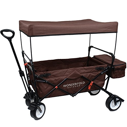 WonderFold Outdoor High-End New 4th Generation Utility Folding Wagon with Canopy, Auto Locks, 180° Steering Telescoping Handle w/ Spring Bounce, EVA Wide Tire w/ One Pedal Brake and Stand (Brown)