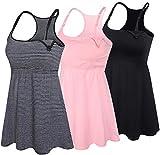 SUIEK 3PACK Racerback Nursing Tops Tank Cami Maternity Bra Breastfeeding Sleep Shirt (Medium, Black+Stripe+Pink 3Pack)