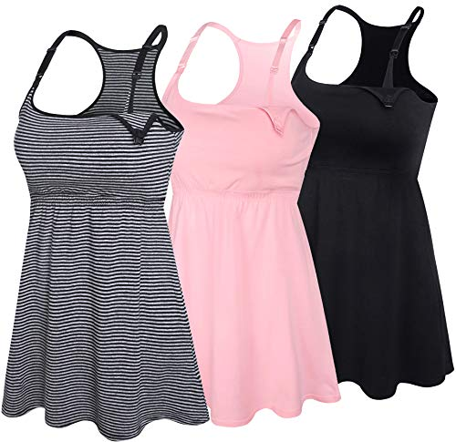 SUIEK 3PACK Racerback Nursing Tops Tank Cami Maternity Bra Breastfeeding Sleep Shirt (Medium, Black+Stripe+Pink 3Pack)