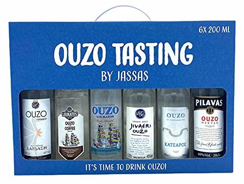 Ouzo Tasting by Jassas 6x 200ml in Geschenkbox   Feinster Ouzo aus Griechenland   Ouzo Probierset