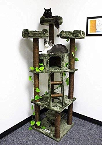 CozyCatFurniture Extra Large Cat Tower 75 inch Brown Kitty Tree No Carpet with Green Leaves
