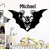 mlpnko Nombre Personalizado Bat Boy Hero decoración de la habitación de los niños Pegatinas de Pared de Vinilo Pegatinas de Pared para Habitaciones de niños 30x43cm