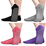 Non Slip Socks for Yoga Pilates Barre, Tphon Grippers Sticky Anti Skid Socks for Women, 4 Pack