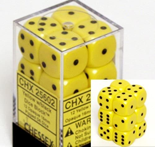 Chessex Dice d6 Sets  Opaque Gelb with schwarz - 16mm Six Sided Die (12) Block of Dice by Chessex