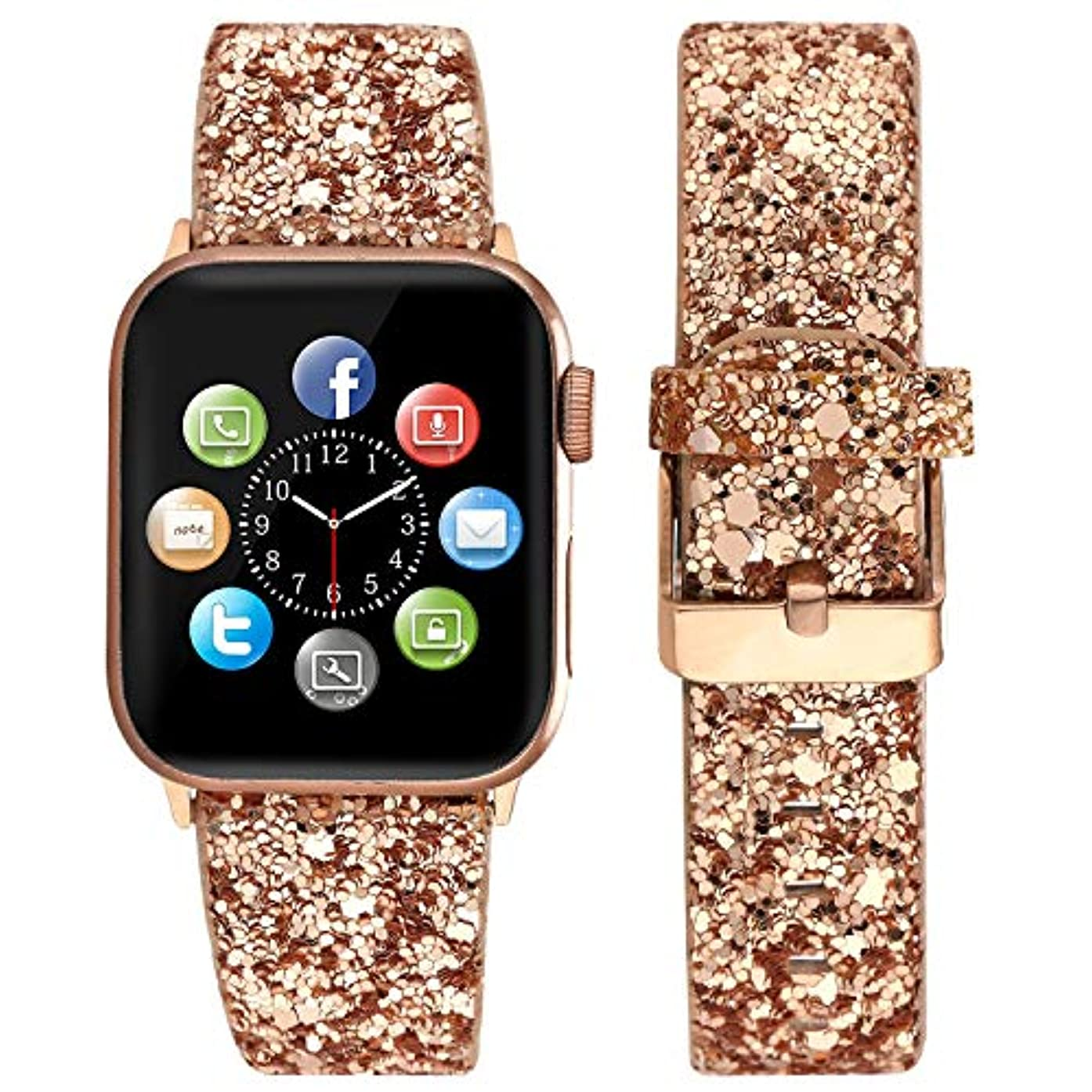 Doweiss Compatible for Apple Watch Bands Glitter with Rose Gold Adapter and Buckle,Replacement Straps for Girl and Ladies Cute Bling Glittery Compatible for iWatch 38mm/40m/42mm/44mm