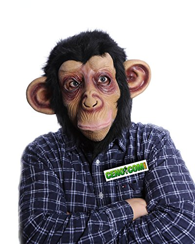 CENO Affen Maske Affenmaske Tiermaske Schimpansen Maske mit Plüschfell