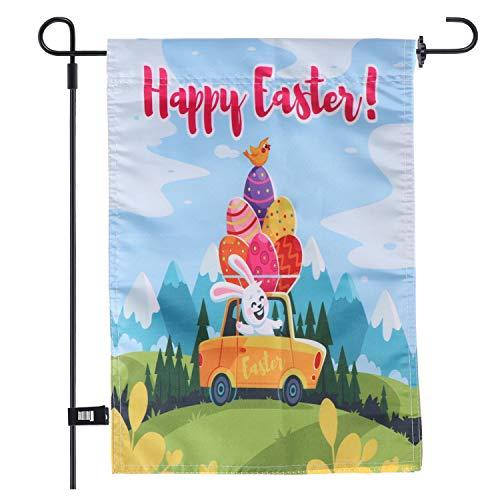 AOPOO Gartenflagge 30,5 x 45,7 cm Dekorative Osterei und Kaninchen Frühjahrsflagge Garten-Flagge mit 1 Gummistopper und 1 transparenter Windschutz-Clip Style B