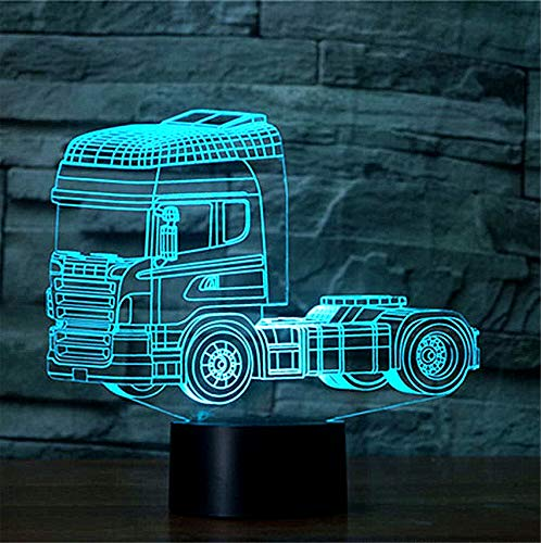 Jawell Truck 3D Illusion Led Night Light, Smart Touch LED Lamp with Remote Control USB Powered