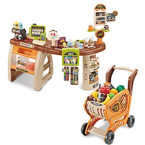 Kids Supermarket Stall and Shopping Trolley Preschool Toy - Pretend Play Shopping Grocery Store/Scanner, Cash Register, Snack Drinks, Food Accessories - Best Gift for Children, Boys and Girls