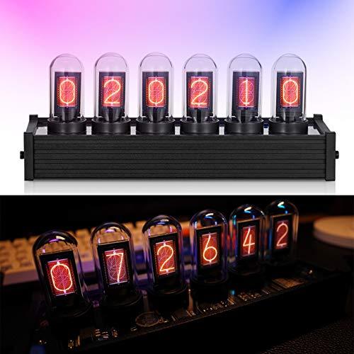 HAITOY RGB Kreative Digitaluhr, DIY Digitale Röhrenuhr mit 16: 9 HD-Monitor Bildschirm IPS, Steampunk Decor Clock, USB Type C für Tube Clock Geschenke für Freunde und Kinder