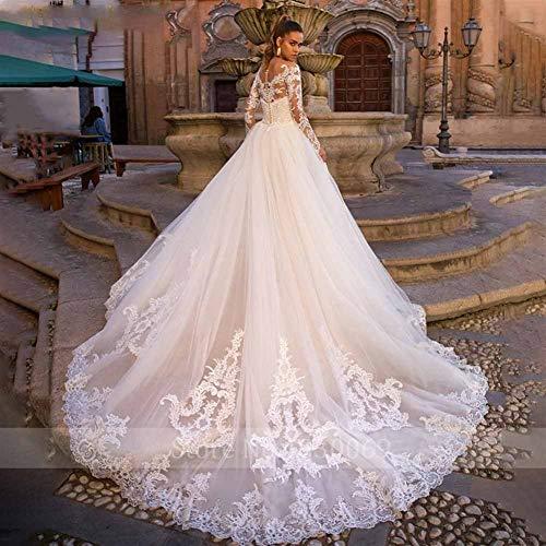 Vestito da Sposa Dress Sweetheart Maniche Lunghe da Sposa Mermaid Treno Staccabile 2 in 1 Abito da Sposa Abiti da Sposa per la Sposa (Color : White, US Size : 10)