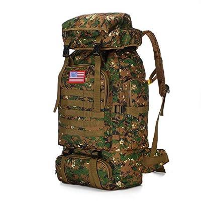 70l Hiking Backpack for Men Waterproof Military Camping Rucksack Travel Daypack (RainCamo)