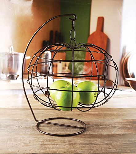 Circleware 54046 Cage Apple Shaped Hanging Fruit Basket Holder Home and Kitchen Utensils Countertop Organizer Display for Produce, Vegetables and Snacks, 12.99' x 16.14', Black Finish