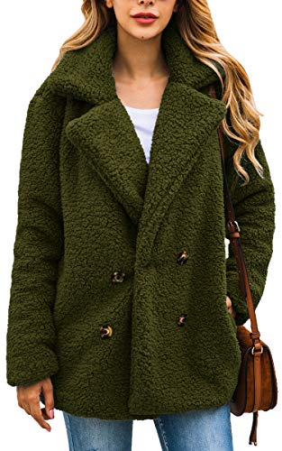 ECOWISH Womens Double Breasted Lapel Open Front Fleece Coat with Pockets Outwear Army Green XL