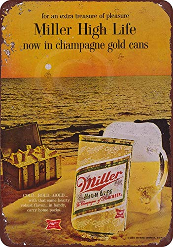 Vintage Wall Decoration Sign 16x12,1968 Miller High Life in Cans,Quote Metal Signs Vintage Man Cave Garage Sign Bar Sign Metal Wall Tin Sign Wall Art