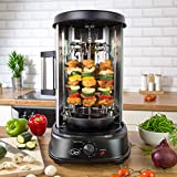 Quest 34020 Electric Rotisserie Grill / Cooks Kebabs, Skewers and Roasts / 60 Minute Timer / Sliding Glass Door / Auto Shut-Off / 1500 W