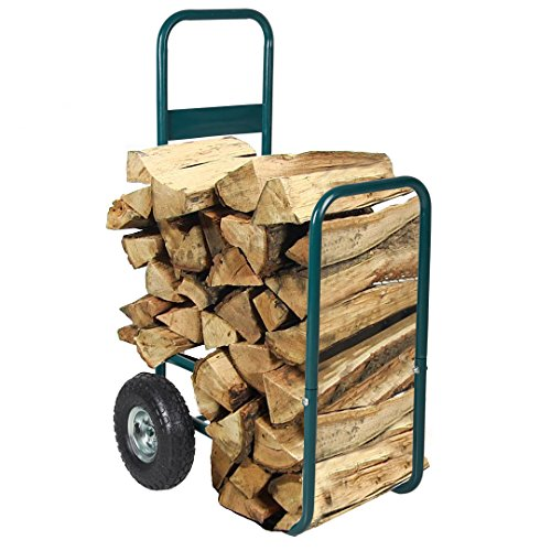 Dporticus Rolling Wheeled Firewood Log Cart Portable Log Rack with Wheels for Backyard Patio Garden Green (Small)