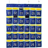 RETYLY 番号付きポケットチャート教室オーガナイザー 携帯電話用電卓ホルダー(30ポケット、ブルーポケット)